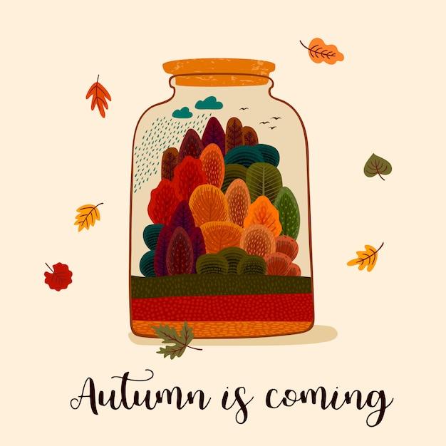 Jesienny projekt z jesiennym lasem Premium Wektorów