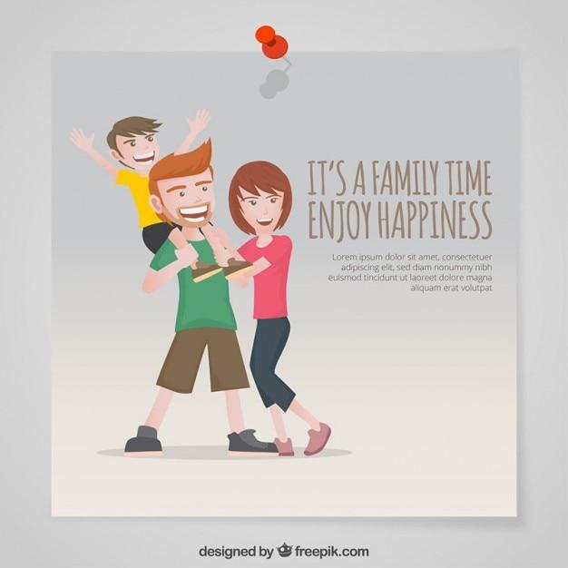 Jest to czas dla rodziny cieszyć się szczęściem Darmowych Wektorów
