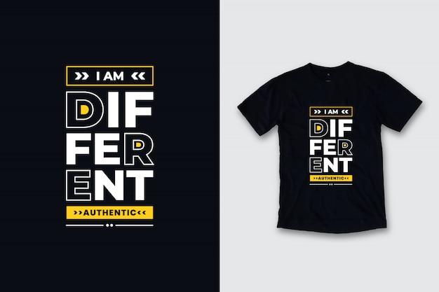 Jestem Inny Nowoczesny Projekt Koszulki Cytaty Premium Wektorów