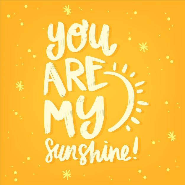 Jesteś Moim Słonecznym Napisem Walentynkowym Darmowych Wektorów