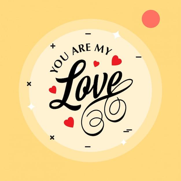 Jesteś Moją Miłością Na żółtym Tle Darmowych Wektorów