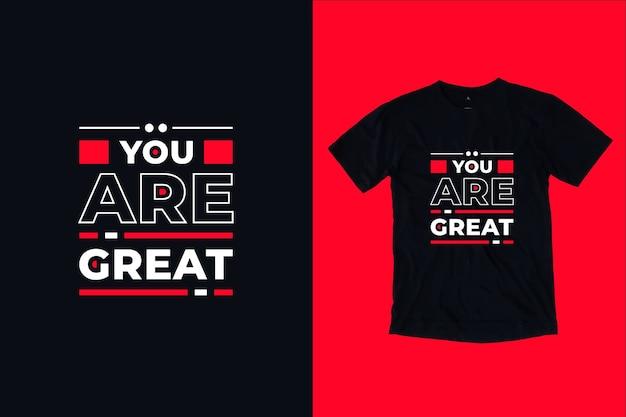 Jesteś świetnym Cytatem Projekt Koszulki Premium Wektorów