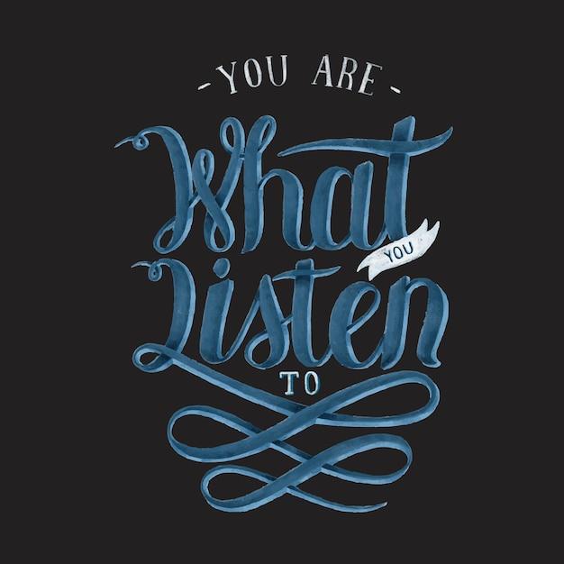 Jesteś tym, co słuchasz ilustracji do projektowania typografii Darmowych Wektorów
