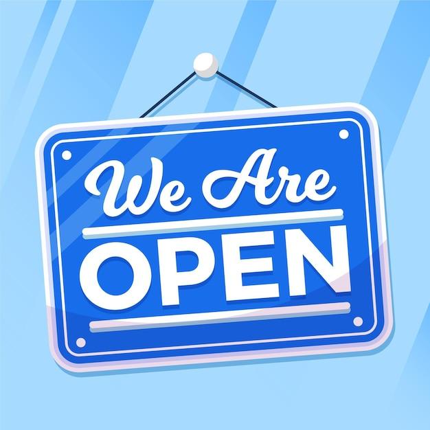 Jesteśmy Otwartym Znakiem Na Oknie Darmowych Wektorów