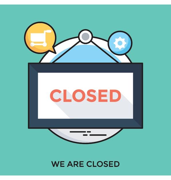 Jesteśmy zamkniętą ikoną wektor płaski Premium Wektorów