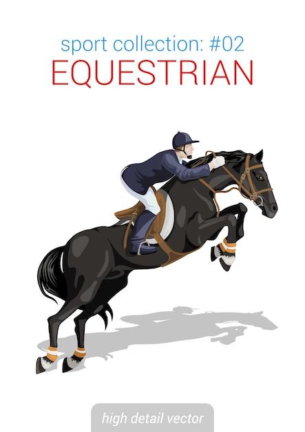 Jeździec Konny Jeździec Jedzie Na Końskiej Ilustraci. Premium Wektorów