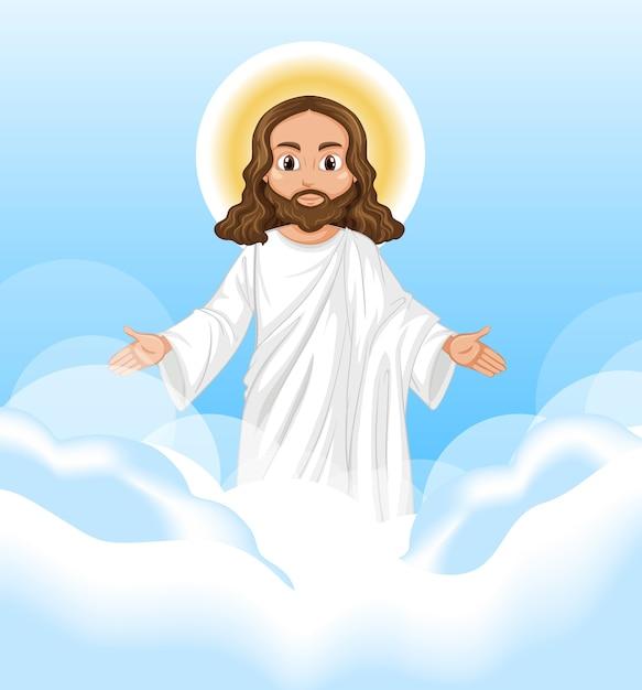 Jezus Głosił Postać Stojącą Na Niebie Darmowych Wektorów