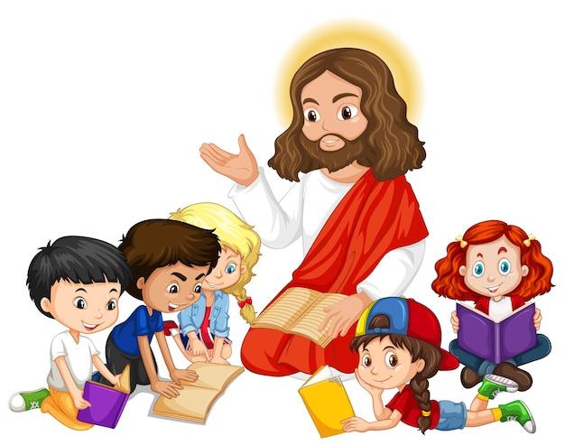 Jezus Naucza Postać Z Kreskówki Grupy Dzieci Darmowych Wektorów