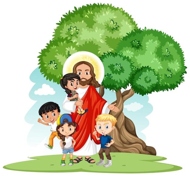 Jezus Z Postacią Z Kreskówki Grupy Dzieci Darmowych Wektorów