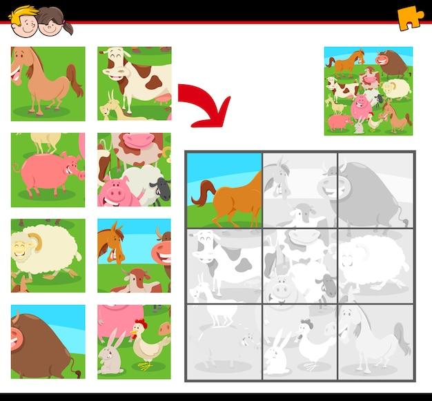 Jigsaw Puzzle Dla Dzieci Ze Zwierzętami Hodowlanymi Premium Wektorów