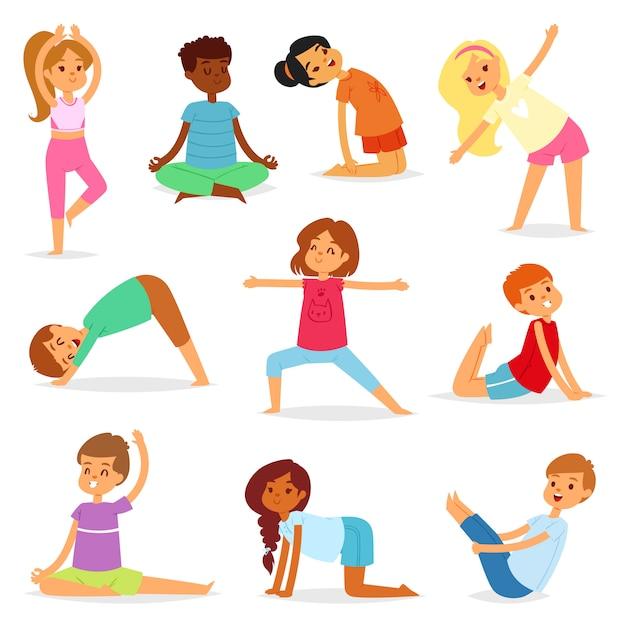 Joga dzieci wektor młody dziecko jogin charakter szkolenia sport ćwiczenie ilustracja zdrowy styl życia zestaw kreskówka chłopców i dziewcząt wellness aktywność rozciąganie medytacji na białym tle Premium Wektorów