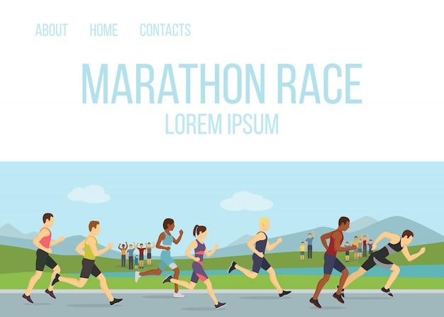 Jogging działającą maraphone rasy wektoru ilustracyjną ludzi. koncepcja grupy sportowej. ludzie sportowcy biegacze maraphon, różnych mężczyzn i kobiet biegaczy. Premium Wektorów
