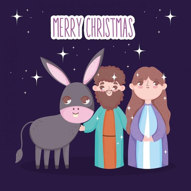 Józef I Maryja Z żłóbkiem Osła, Wesołych świąt Premium Wektorów