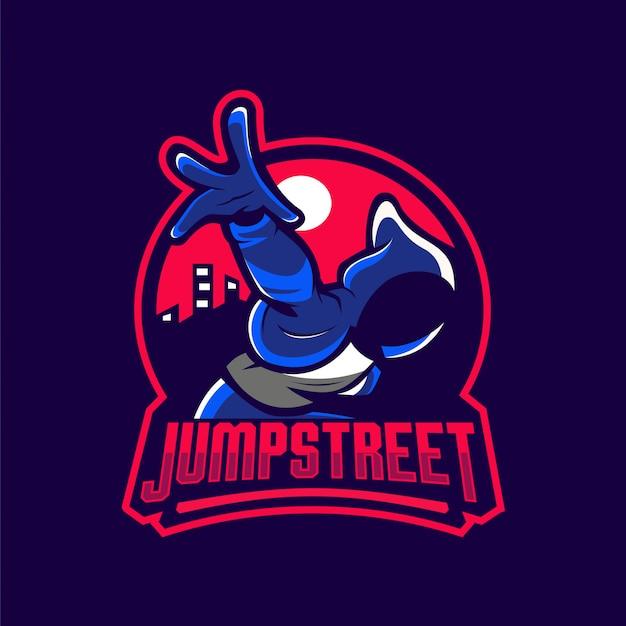 Jump street maskcot logo Premium Wektorów