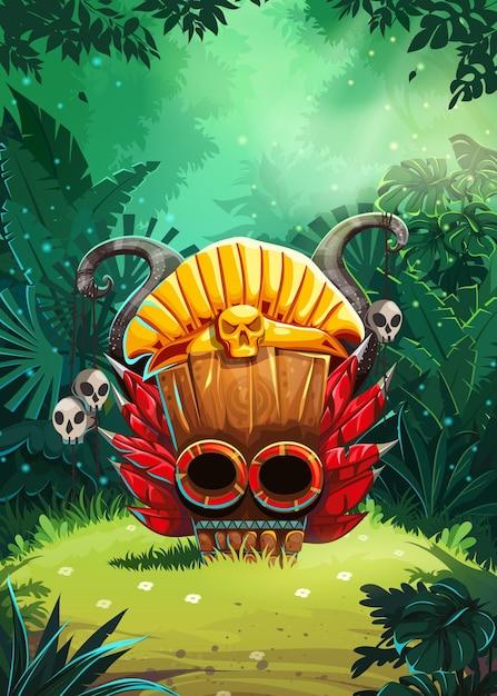 Jungle Shamans Ekran Okna Interfejsu Użytkownika Gry Mobilnej. Ilustracji Wektorowych Premium Wektorów