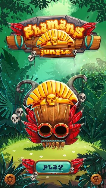 Jungle Shamans Interfejs Użytkownika Gry Mobilnej Na Ekranie Okna Gry. Ilustracji Wektorowych Premium Wektorów