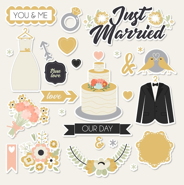 Just married stickers Premium Wektorów