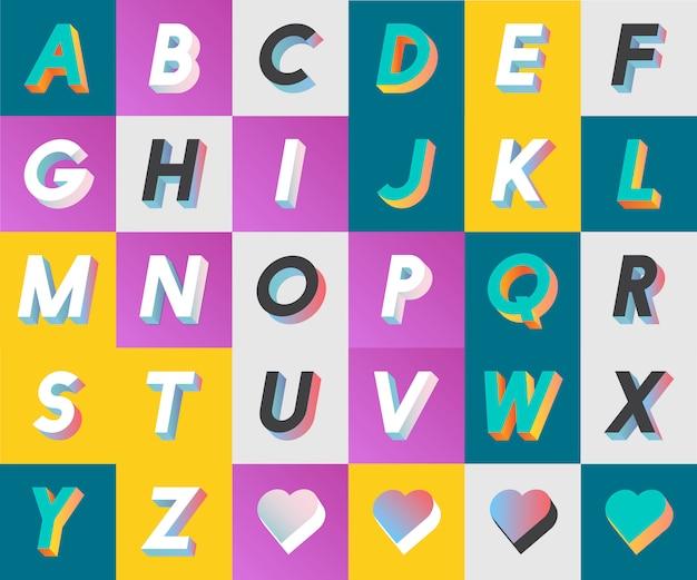 K kolekcji v zestaw alfabetu i Darmowych Wektorów