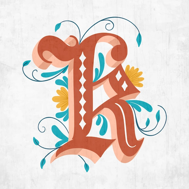 K Kreatywnych Kwiatowy Litera Alfabetu Darmowych Wektorów