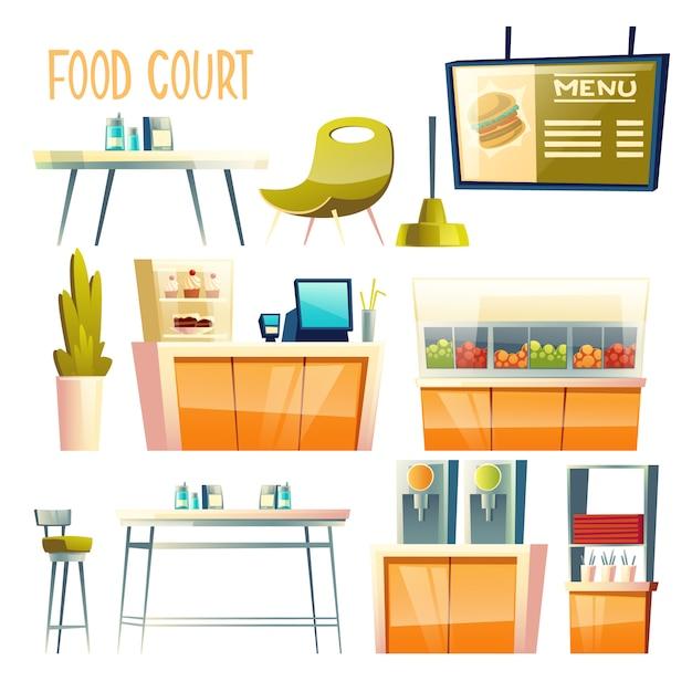 Kącik gastronomiczny, samoobsługowa kawiarnia, elementy wnętrza centrum hawker Darmowych Wektorów