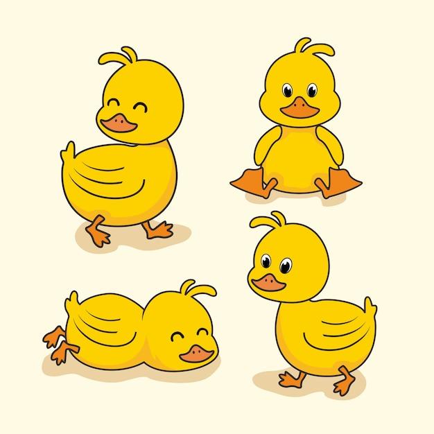 Kaczka Dla Dzieci Cartoon Animals Premium Wektorów