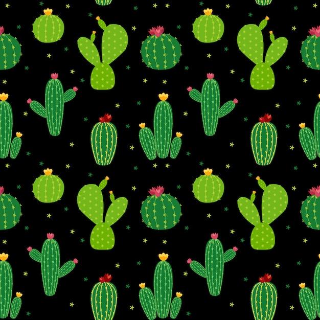 Kaktus ikona kolekcja bezszwowe wzór Premium Wektorów
