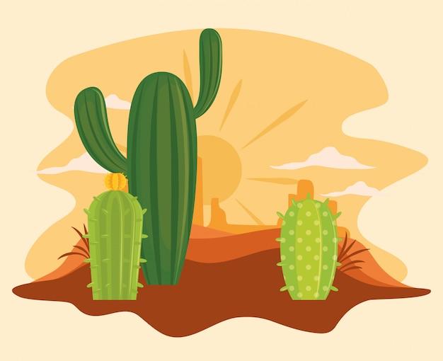 Kaktus w pustynnej scenerii kreskówce Premium Wektorów
