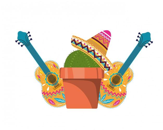 Kaktus z doniczką i meksykańską czapką Premium Wektorów