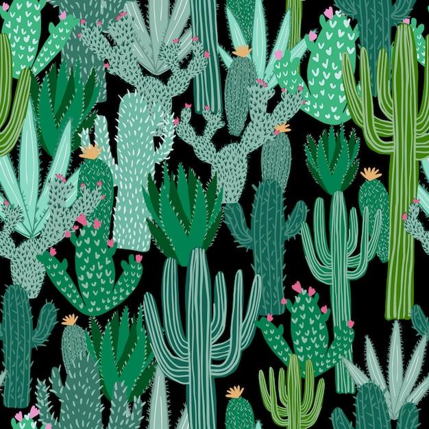 Kaktusowy bezszwowy wzór na czarnym tle. tapeta zielona kaktusów. Premium Wektorów