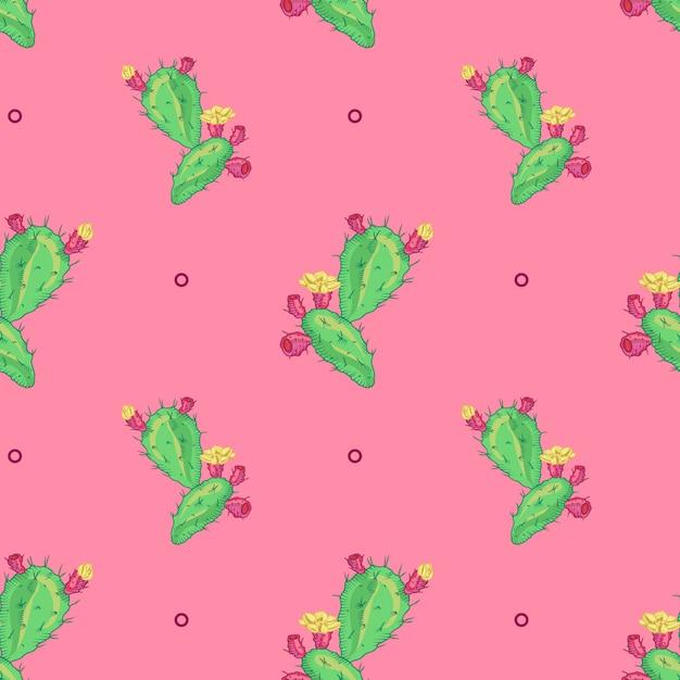 Kaktusowy kwiat, bezszwowy wzór. logo pot cactus. ikona kaktusa Darmowych Wektorów
