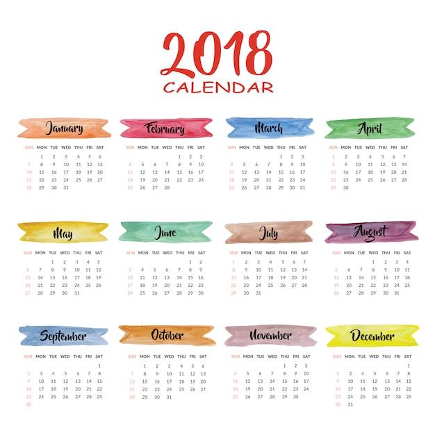 Kalendarz 2018 wielokolorowy wzór Darmowych Wektorów