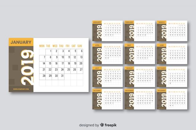 Kalendarz 2019 roku Darmowych Wektorów