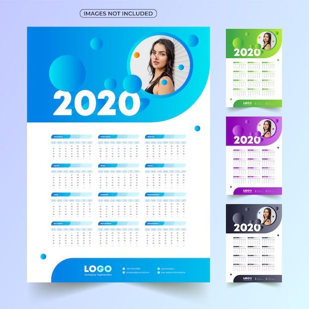 Kalendarz 2020 z obrazem Premium Wektorów