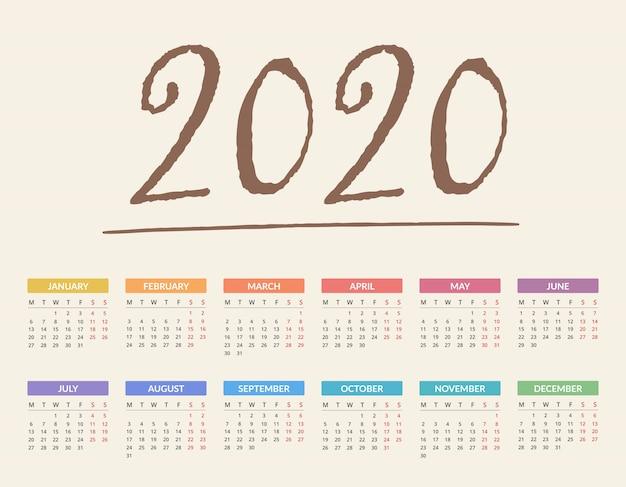 Kalendarz 2020 Premium Wektorów