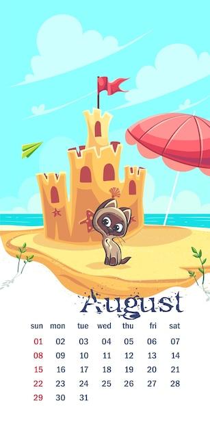 Kalendarz 2021 Sierpień. śmieszne Kot Kreskówka Na Piasku Premium Wektorów