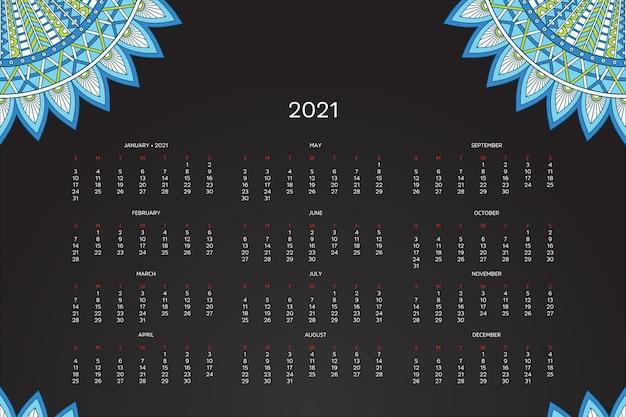 Kalendarz 2021 Z Orientalną Mandalą Darmowych Wektorów