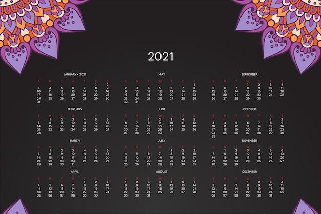 Kalendarz 2021 Z Orientalną Mandalą Premium Wektorów