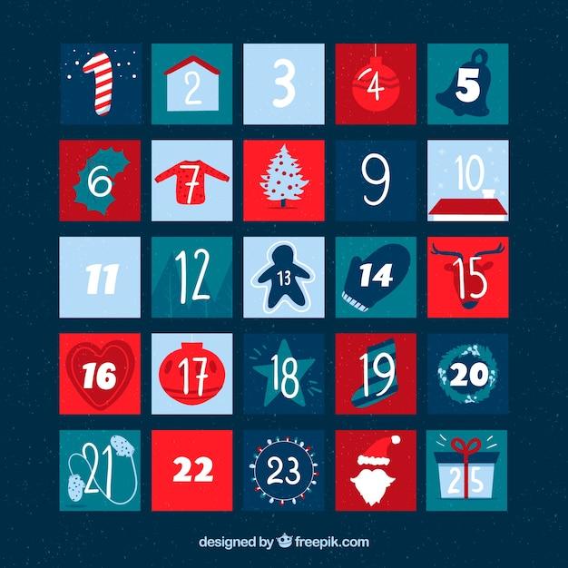 Kalendarz adwentowy w kolorze jasnoniebieskim, granatowym, turkusowym i czerwonym Darmowych Wektorów