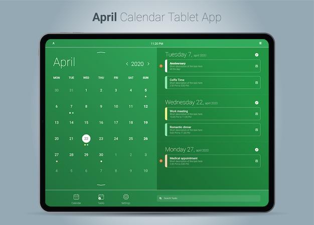 Kalendarz Aplikacji Na Tablet W Kwietniu Premium Wektorów