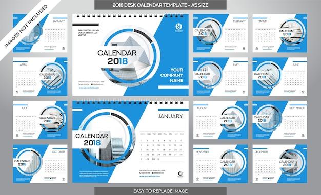 Kalendarz Biurowy 2018 Szablon - 12 Miesięcy Włączone - Rozmiar A5 - Art Brush Temat Premium Wektorów