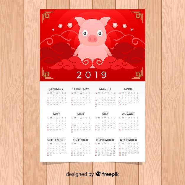 Kalendarz chiński nowy rok 2019 Darmowych Wektorów