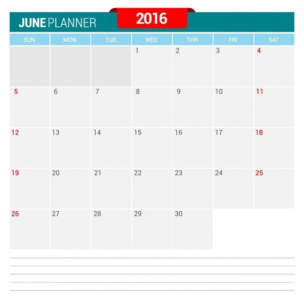 9377694d Kalendarz czerwiec 2016 Wektor | Darmowe pobieranie