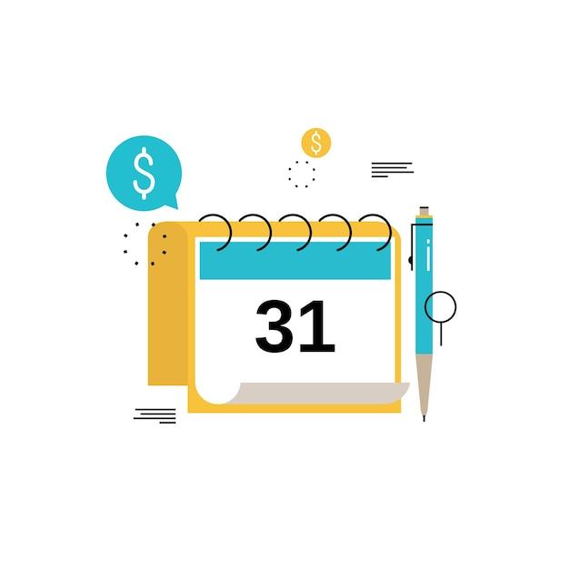 Kalendarz Finansowy, Planowanie Finansowe, Planowanie Budżetu Miesięcznego Płaski Ilustracji Wektorowych Projektu. Projekt Planowania Finansowego Dla Urządzeń Mobilnych I Internetowych Premium Wektorów