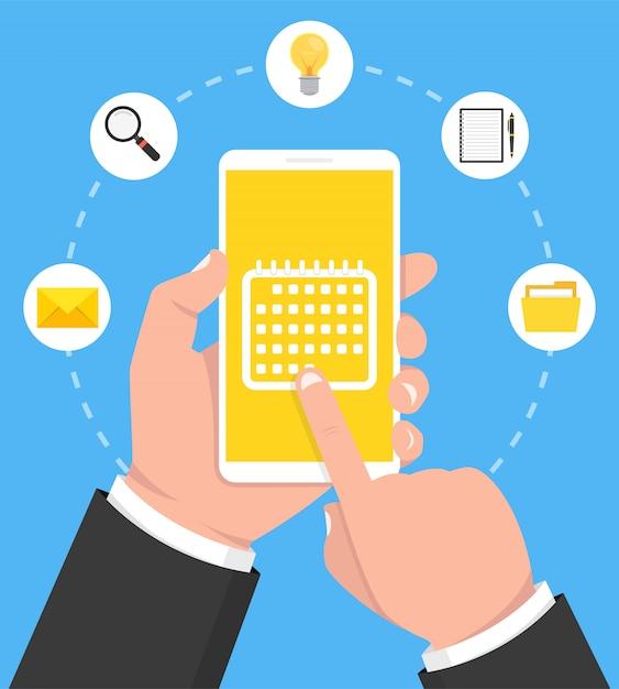 Kalendarz, Harmonogram, Przypomnienie, Aplikacja Do Planowania Na Ekranie Smartfona Premium Wektorów