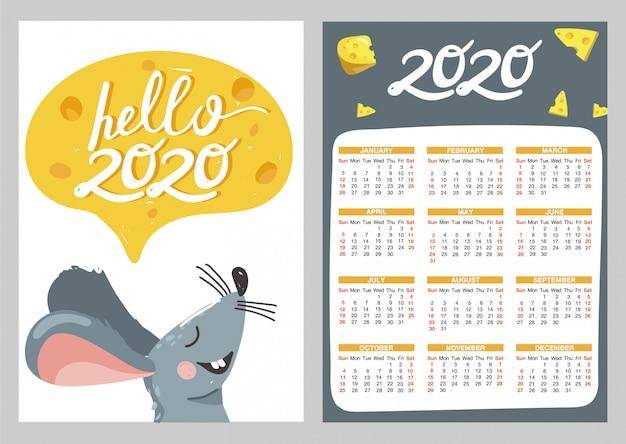 Kalendarz kieszonkowy z ilustracjami myszy i sera. Premium Wektorów