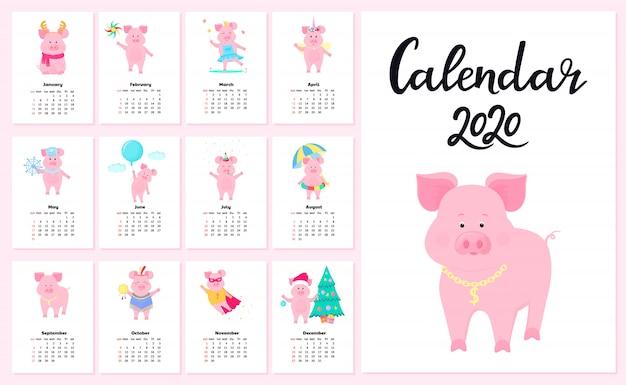 Kalendarz Na 2020 R. Od Niedzieli Do Soboty Premium Wektorów