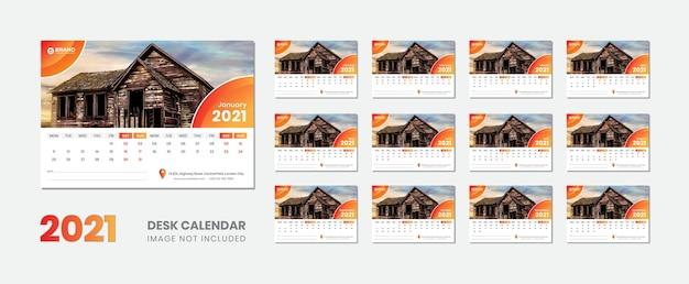 Kalendarz Na Biurko 2021 Premium Wektorów