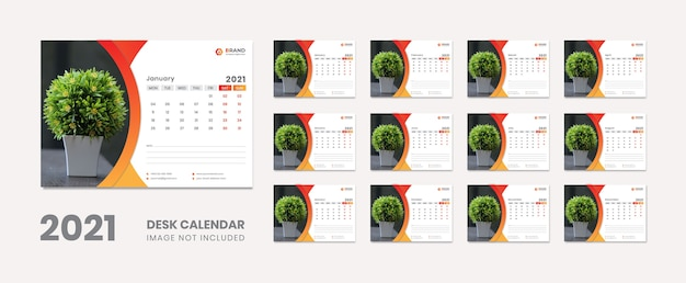Kalendarz Na Biurko Nowy Rok Premium Wektorów