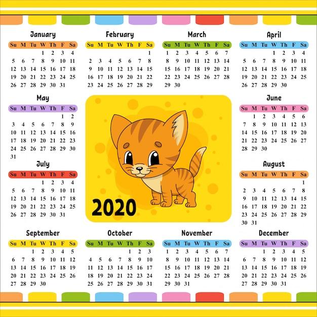 Kalendarz na rok 2020 z uroczą postacią. Premium Wektorów