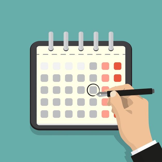 Kalendarz na ścianie i ręka oznaczająca jeden dzień. ilustracja wektorowa płaski. Premium Wektorów
